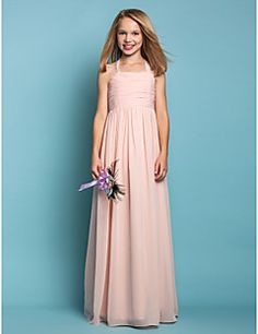 Floor-length Chiffon Junior Bridesmaid Dress Sheath / Column Halter Natural with Ruching – CAD $ 97.29