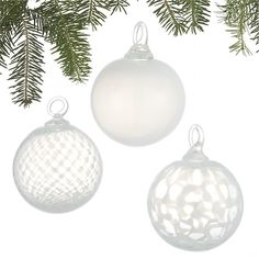 Set of 3 Art Glass White Ball Ornaments in Christmas Ornaments | Crate and  Barrel