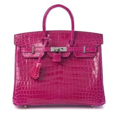 This is actually the authentic HERMES Shiny Niloticus Crocodile Birkin 25 within Rose Scheherazade. This spectacular Hermes Birkin is designed of shiny exotic niloticus crocodile leather in brilliant pink. The bag functions rolled crocodile top deals with, a matching cross more than flap, a horizontal mix strap closure with the polished palladium turn locking mechanism, a hanging key clochette and crocodile lined padlock. The flap opens to some matte goatskin interior along with zipper and pat Hermes Bags, Hermes Handbags, Fashion Handbags, Purses And Handbags, Cheap Handbags, Birkin 25, Hermes Birkin, Birkin Bags, Luxury Bags