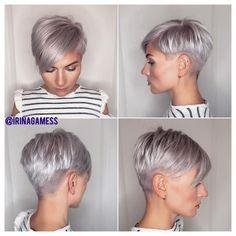 2020 New Year Pixie Haircut Fashion Short Hairstyles Fine, Haircuts For Fine Hair, Twist Hairstyles, Pixie Hairstyles, Pixie Haircut, Pretty Hairstyles, Short Grey Hair, Short Hair Cuts For Women, Natural Hair Styles