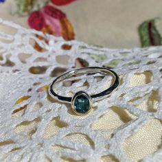 Blue tourmaline Indicolite gemstone set in white gold. Ring.