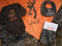 Baby Boy Gift Set - RealTree Camo - Personalized Blanket, Onesie, Burp Cloth and Dribbler Bib. $82.00, via Etsy.