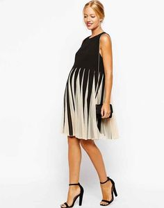 Asos Maternity Fit and Flare Dress with Mesh Insert, $36.01