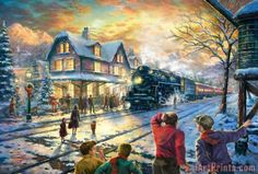 Thomas Kinkade All Aboard for Christmas print for sale. Shop for Thomas Kinkade All Aboard for Christmas painting and frame at discount price, ships in 24 hours. Cheap price prints end soon. Thomas Kinkade Art, Thomas Kinkade Christmas, Christmas Train, Christmas Scenes, Christmas Villages, Christmas Music, Christmas Desktop, Holiday Train, Trump Christmas