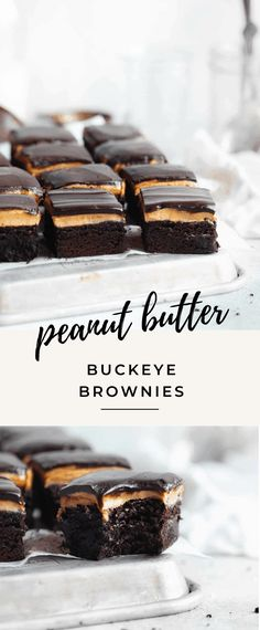 Buckeye Brownies - Broma Bakery Oh hey. I didn't see you over these thick af, fudgy brownies topped with a salty sweet peanut butter filling and chocolate ganache AKA Buckeye Brownies. Peanut Butter Buckeyes, Chocolate Peanut Butter Brownies, Chocolate Ganache, Peanut Butter Blondies Recipe, Peanut Brownies, Peanut Butter Cookie Bars, Coconut Brownies, Chocolate Topping, Mint Chocolate