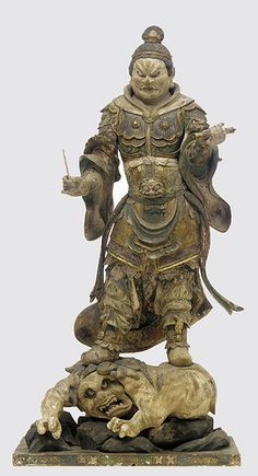 Komoku-ten, Guardian of the West, one of a set of four Shitenno (Guardian Figures) Sculpture; wood and polychrome with gilt, crystal-inlaid eyes Japan Kamakura period Freer Gallery of Art. Kamakura Period, Freer Gallery, Japanese Warrior, Japanese Culture, Japanese Food, Buddhist Art, Japan Art, Sculpture, Les Oeuvres