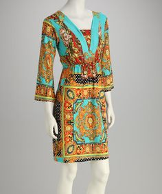 Take a look at this Gold & Turquoise Arabesque V-Neck Dress by White Mark on #zulily today!