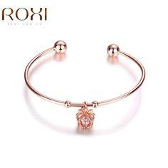 ROXI Trendy Bracelets for Women Lady Rose Gold Color Flower Bangle Wedding Engagement Party Jewelry Bangle & Bracelets