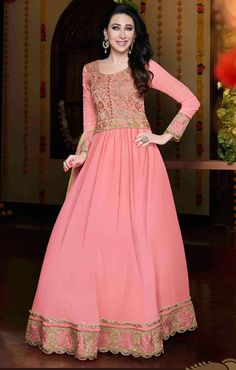 USD 43.52 Karisma Kapoor Pink Georgette Floor Length Anarkali Suit 56030