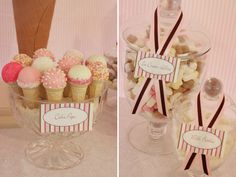 Love the cake pop cones at this party more than any others i have seen!