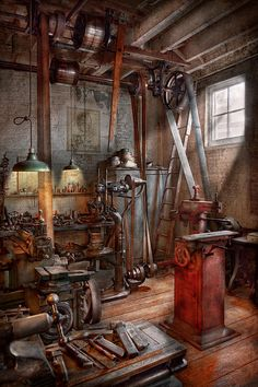 Machinist - The Modern Workshop Canvas Print / Canvas Art By Mike Savad Antique Tools, Old Tools, Vintage Tools, Art Steampunk, Steampunk Interior, Blacksmith Shop, Blacksmith Workshop, Garage Workshop, Metal Workshop