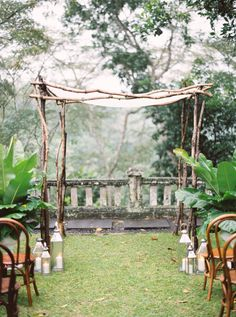 A simple wooden wedding canopy.
