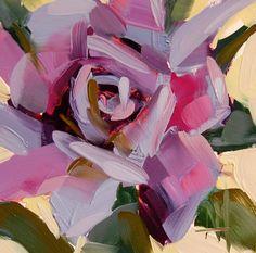 Lavender Rose original floral oil painting by Angela Moulton 4 x 4 inch on panel prattcreekart