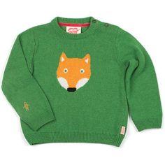 Famous Mr Fox knitted jumper in grass green by Tootsa MacGinty, unisex kidswear