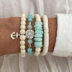 beach jewelry, cultured sea glass bracelet, nautical jewelry, beachy bracelet stack, boho jewelry