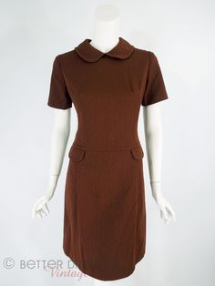 60s/70s Mod Shift Dress in Coffee Brown - sm, med by Better Dresses Vintage