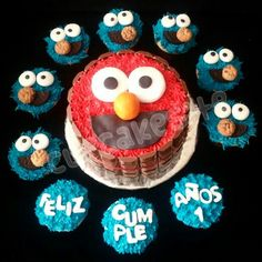 Elmo cake and cupcakes  Sesame street