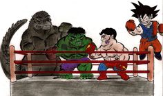 goku vs godzilla | Godzilla and Hulk vs Superman and Goku by ~MonsterKingOfKarmen on ...
