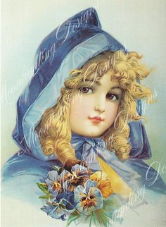 VINTAGE GIRL in Blue BONNET by Frances by MoonlightingByMary, $3.00