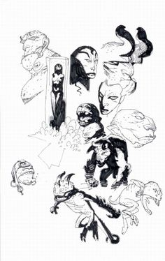 Character model - mike mignola's sketchbook pages from the h Comic Book Artists, Comic Artist, Comic Books Art, Character Modeling, Character Art, Mike Mignola Art, Comic Kunst, Sketchbook Pages, Animation
