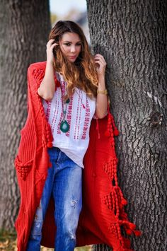 Simona Mar: Ie, the Traditional Romanian Folk Top ♥ Maxi Pom Pom Cardigan