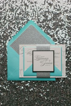 LAUREN Suite Glitter Package, Tiffany and Co, Tiffany & Co wedding theme, Tiffany wedding invitations, silver glitter