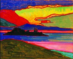 Gabriele Münter (1877-1962), Sonnenuntergang über dem Staffelsee, vers 1910-1911