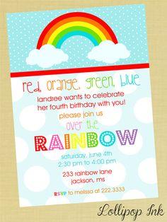 RAINBOW Printable Birthday Invitation, Over the Rainbow Personalized Birthday Invite, RAINBOW Invite