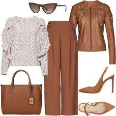 0fe2e9e8da Outfit all'insegna del marrone a partire dal giubbino in simil-pelle con  ricami