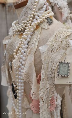 Combine beads and vintage lace scarf's
