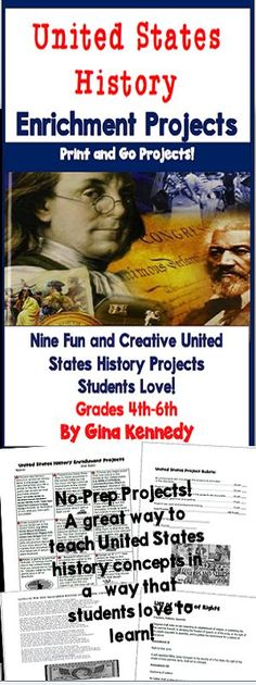 Nine fun and creative United States enrichment projects! From helping Francis Scott Key to taking a national monuments tour or even updating the Bill of Rights, your students will love these projects. This resource provides a fantastic way for students to learn about American history in a way that they love to learn. A print and go rubric is included. No-Prep, Just Print and Go!$