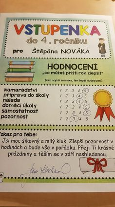 Produkt - VSTUPENKA do dalšího ročníku Primary Teaching, Primary School, Beginning Of The School Year, Classroom Posters, Kindergarten, Homeschool, Teacher, Education, Professor