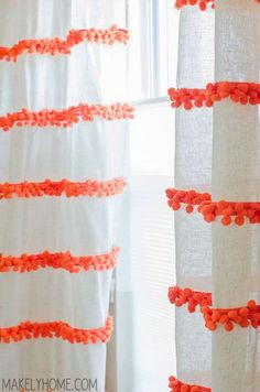 DIY Embellished Curtains {An Anthropologie Swing Stripe Curtains Knockoff