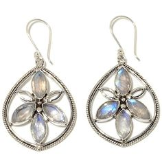 "Himalayan Gems™ Moonstone ""Flower"" Earrings"