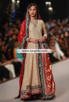 Zaheer Abbas Bridal Anarkali Suits Paris France Pakistani Anarkali Wedding Dresses PBCW 2014
