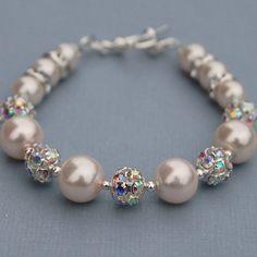 Sparkling Blush Pink Pearls Bracelet Bridal Jewelry