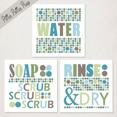bathroom art prints kids set of three wash your hands green teal and