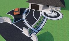 Znalezione obrazy dla zapytania kostka brukowa przed domem Creative Landscape, Landscape Design, Outside Flooring, Concrete Path, Paving Ideas, Driveway Design, Kerala House Design, Backyard Pool Designs, Mosaic Garden