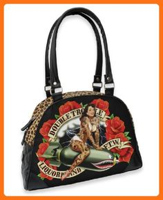 Liquorbrand Double Trouble Rockabilly Tattooed Pin-Up Bomber Girl Vegan Purse - Shoulder bags (*Amazon Partner-Link)