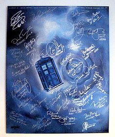 Handpainted TARDIS canvas signed by 40 Doctor Who actors. Currently going at £820!!