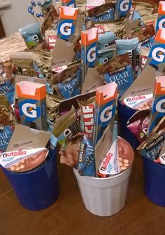 """""""Goodies"""" for Boys' Soccer Senior Night...    Protein bars, Gatorade chews, Nutella & Go Snacks and Chipotle Gift Cards"""