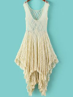 White V Neck Sleeveless Asymmetrical Lace Dress pictures