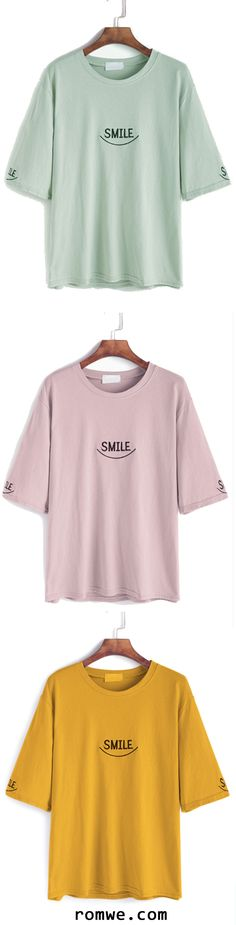Elbow Sleeve Letter Embroidery T-shirt