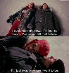 """I could die right now, Clem. I'm just happy. I've never felt that before. I'm just exactly where I want to be."" Eternal Sunshine of the Spotless Mind Series Quotes, Tv Quotes, Qoutes, Pope Quotes, Netflix Quotes, Lyric Quotes, Quotations, Romantic Movie Quotes, Favorite Movie Quotes"