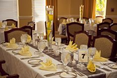 Our table setting at the reception - grey and yellow wedding.  Plantation Golf and Country Club - Fort Myers, FL