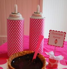 Cover party condiments in scrapbook paper to match party theme.