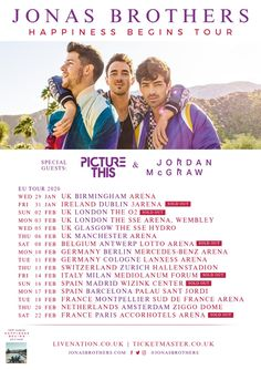 Buy Jonas Brothers tickets from Ticketmaster IE. Jonas Brothers tour dates, event details + much more. Extra Image, Tour Posters, Jonas Brothers, Dublin Ireland, Special Guest, Glasgow, Birmingham, Dating, Tours