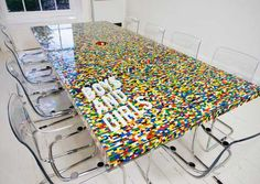 Lego conference table, by Boys and Girls agency, Dublin. Great for brainstorming.