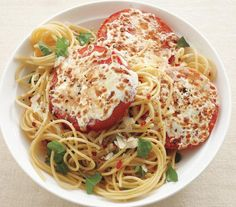 Basil Spaghetti With Cheesy Broiled Tomatoes recipe: Instead of the usual tomato sauce, serve spaghetti with fresh tomatoes covered in melted mozzarella and Parmesan. Substitute spaghetti squash in place of pasta. Think Food, I Love Food, Food For Thought, Good Food, Yummy Food, Tasty, Pasta Recipes, Dinner Recipes, Cooking Recipes