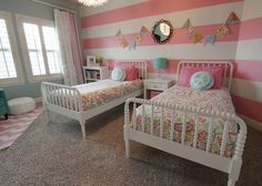 Beautiful Girls Bedroom Ideas to Make the Girl Feel More Comfort: Old Fashioned Pink White Striped Girls Bedroom Ideas Mixed with Baby Blue Wall to Hit White Twin Beds
